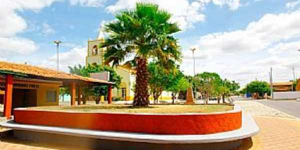 Taboleiro Grande-RN-Igreja e praça central-Foto:Wilson Alcaras