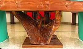 Apiúna - Detalhe da Mesa do Altar em Xilografia da Matriz de Sant´Ana em Apiúna-SC-Foto:Sidnei Recco