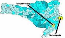 Bra�o do Norte - Mapa de Localiza��o - Bra�o do Norte-SC