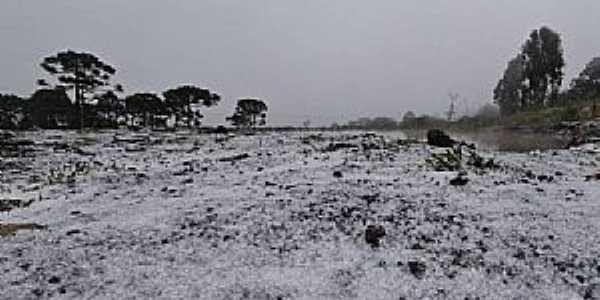 Imagens da cidade de São Joaquim/SC com queda de neve em Julho/2021-Foto:Mycchel Legnaghi