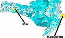 Xaxim - Mapa de Localização - Xaxim-SC