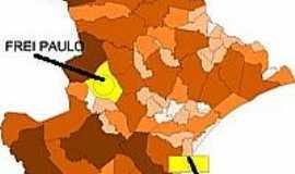 Frei Paulo - Mapa de Localiza��o - Frei Paulo-SE