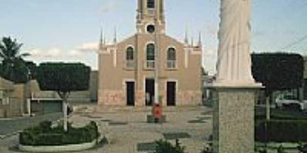 Praça, Igreja e Imagem de N.Sra.da Glória em Nossa Senhora da Glória-SE-Foto:lohanlima