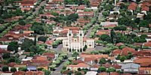 Lavínia-SP-Vista aérea da Matriz no centro da cidade-Foto:www.lavinia.sp.gov.br