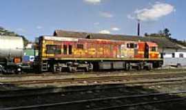 Mairinque - Locomotiva no Pátio da Estação Mairinque