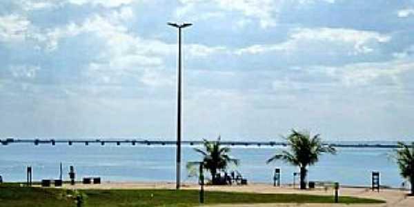 Presidente Epitácio-SP-Orla da Represa e a Ponte Hélio Serejo no Rio Paraná-Foto:Edmilson Cano(FaceBook)