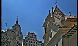 São Paulo - São Paulo-SP-Pátio do Colégio e ao fundo o Edifício Banespa no Centro Histórico -Foto:AntonioJVidaL